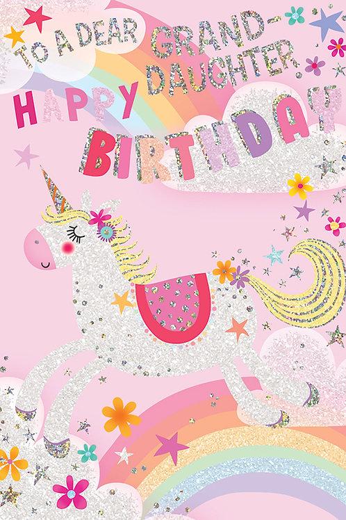 Happy Birthday Granddaughter Unicorn Card