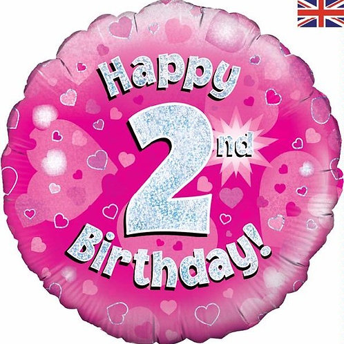 18IN HAPPY 2ND BIRTHDAY PINK FOIL BALLOON