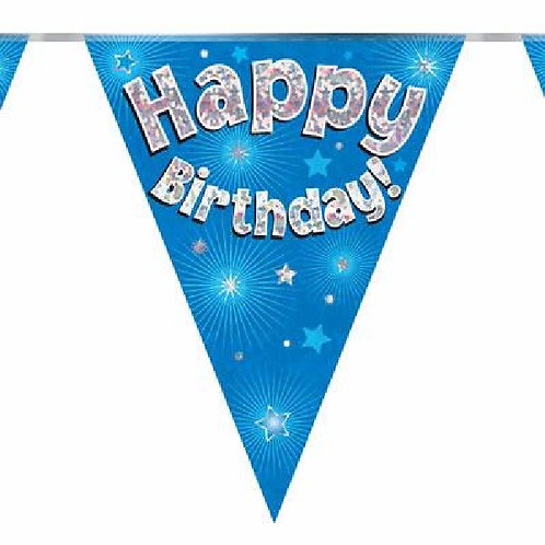 HAPPY BIRTHDAY BLUE PENNANT BANNER