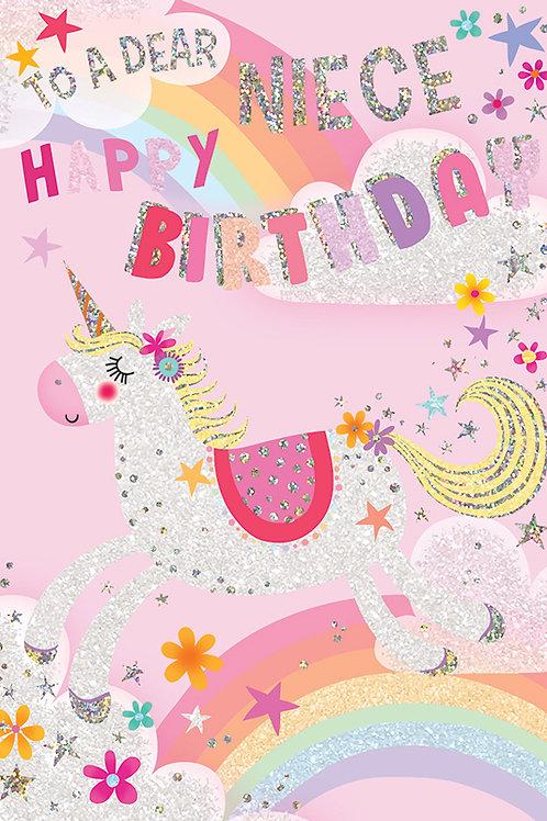 Happy Birthday Niece Unicorn Card