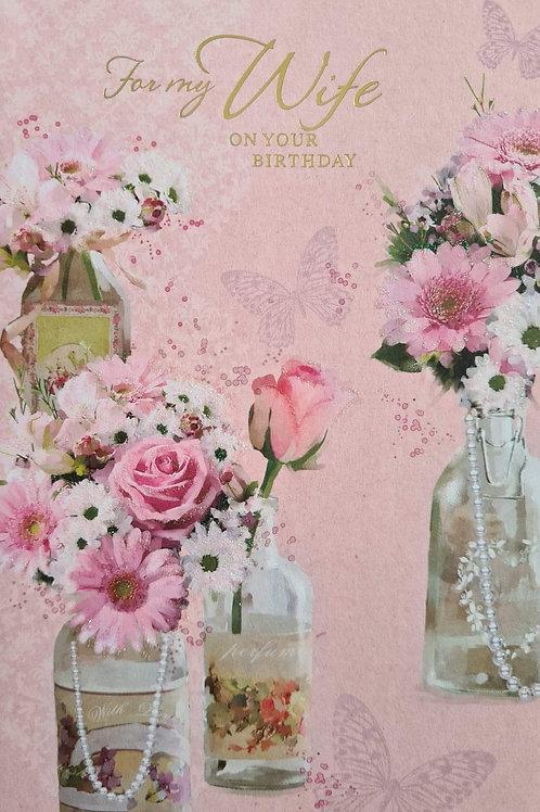 Happy Birthday Wife Flowery Card