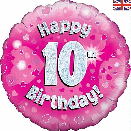 18IN HAPPY 10TH BIRTHDAY PINK FOIL BALLOON