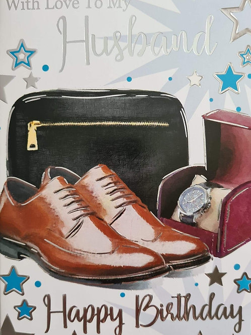 Happy Birthday Husband Brown Shoes Card