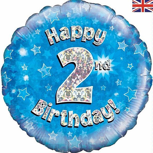 18IN HAPPY 2ND BIRTHDAY BLUE FOIL BALLOON