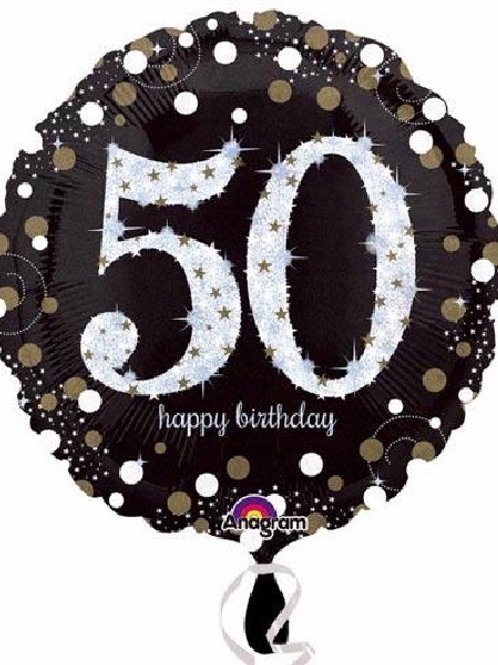 18IN 50TH BIRTHDAY GOLD SPARKLES FOIL BALLOON