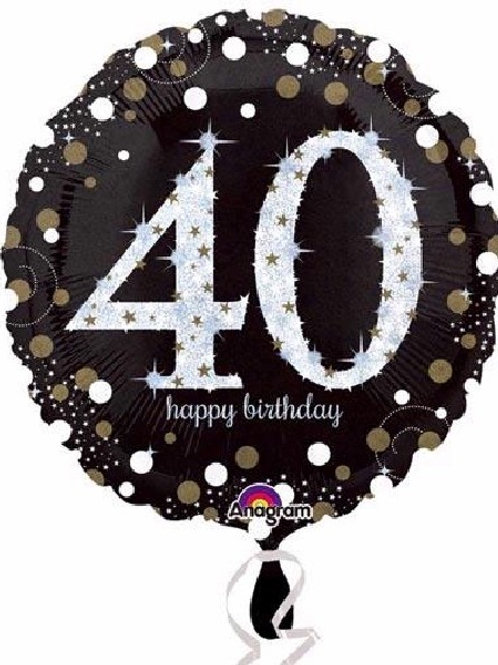 18IN 40TH BIRTHDAY GOLD SPARKLES FOIL BALLOON