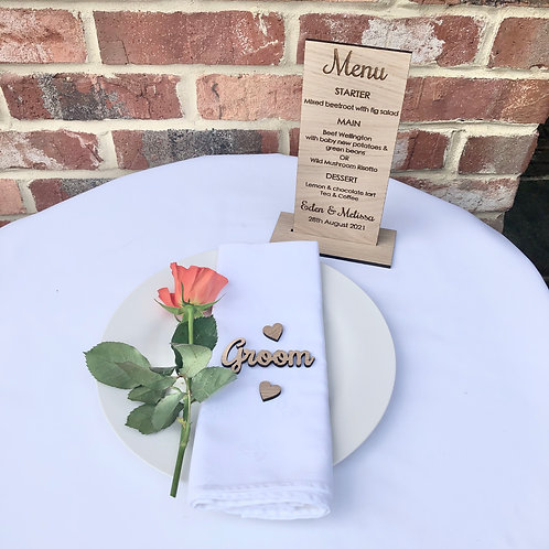 Engraved Oak Menu with stand