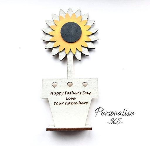 Sunflower Wooden keepsake Card Personalised