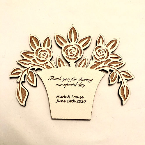 Basket of Flowers Wooden with engraved Personalised message