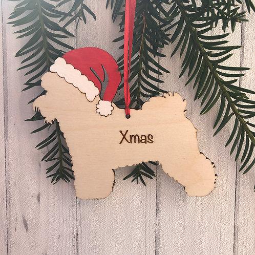 Bichon Frise Pet Dog Wood Christmas Tree Decorations