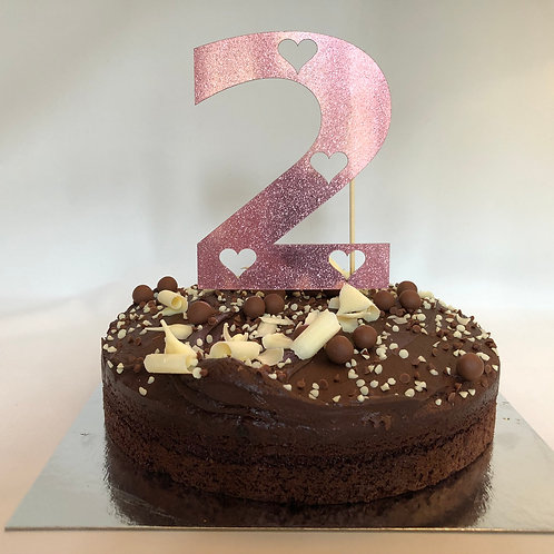 Metallic Pink Age Number with Cut Out Hearts Cake Topper