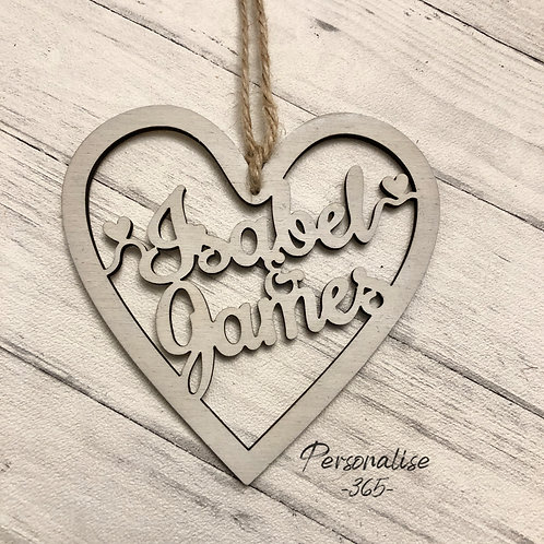 Heart Hand Painted or Natural Wood personalised with names