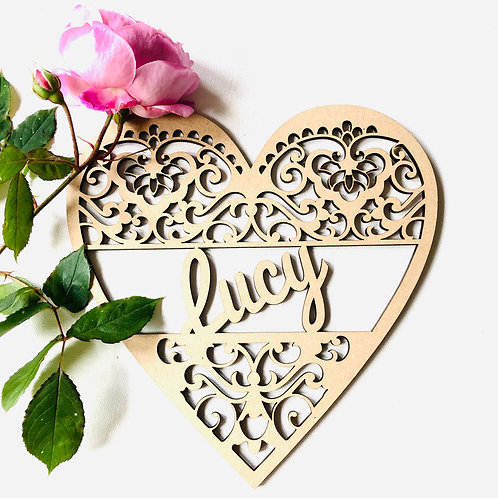 Large Heart personalised MDF with scroll detailing/Nursery Plaque