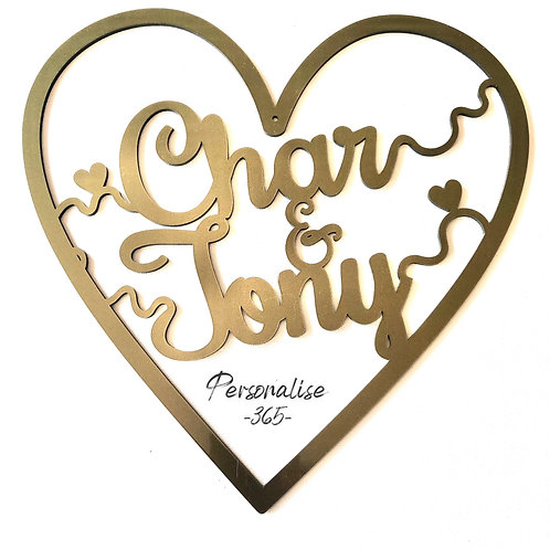 Personalised name heart hoop scroll design Acrylic Gold or Silver