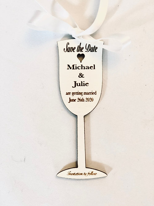 Wooden Laser Cut Champagne Glass Save The Date