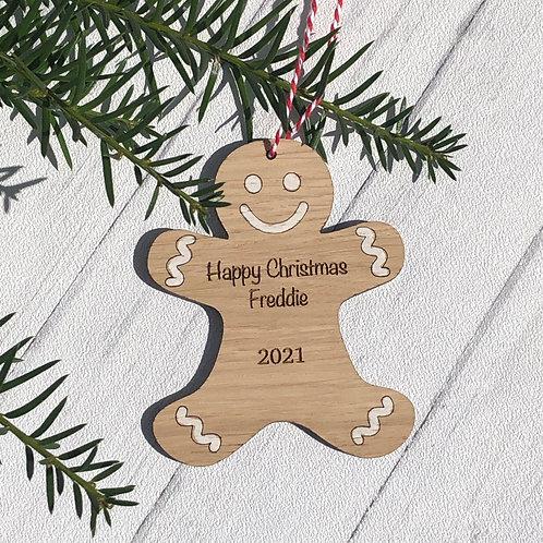 Gingerbread man engraved oak Christmas tree decoration