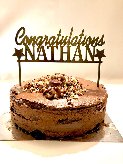 Congratulations cake topper in gold or silver acrylic personalised