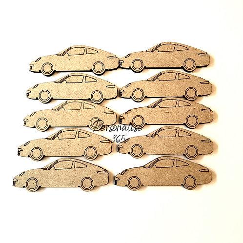 Sports car wooden craft shape MDF x 10