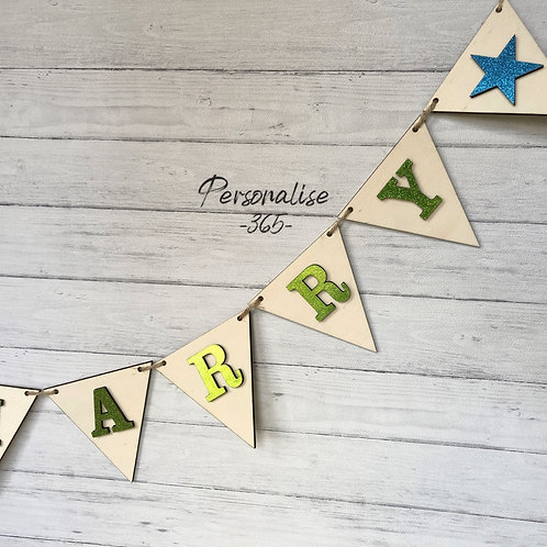 Wooden bunting personalised/Sparkle star bunting/Nursery bunting/Party bunting