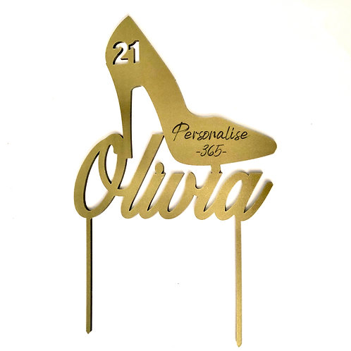 Gold or Silver 21st/18th Birthday Shoe Cake decoration Personalised