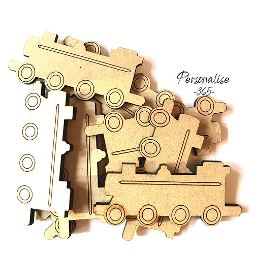 Train craft shapes wooden MDF x 10