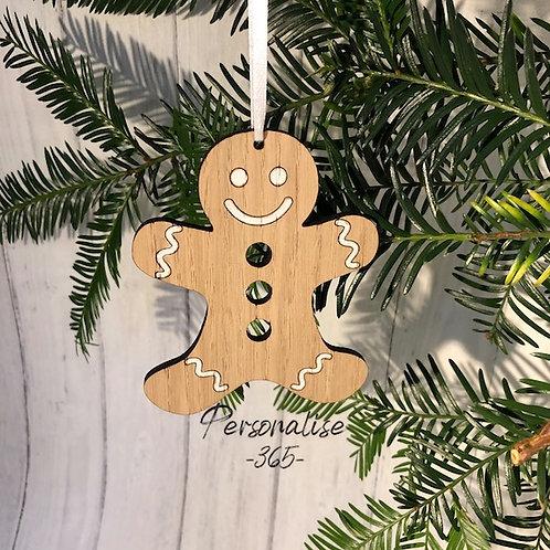 Gingerbread man Oak Hand Painted Christmas Decoration