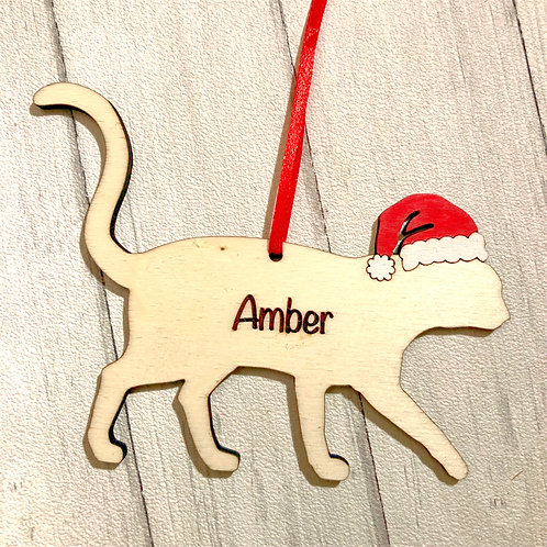 Short Haired Cat Wood Christmas Tree Decorations