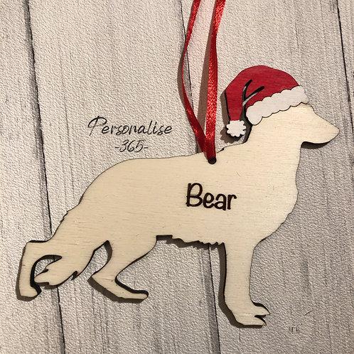 German Shepherd Wood Christmas Tree Decorations