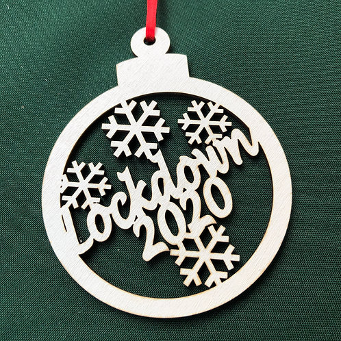 Lockdown 2020 Christmas hand painted white wooden Bauble
