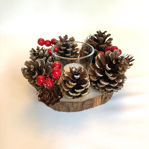 Cone Pine Decoration with red berries on Real Wood Log Slice