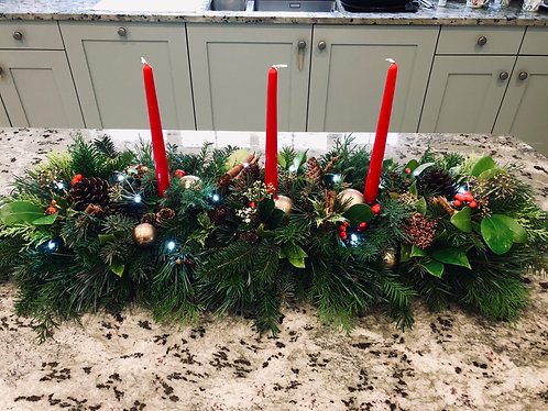 Large fresh greenery Christmas table wreath