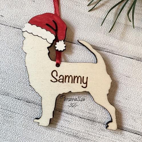 Chihuahua Pet Dog Wood Christmas Tree Decorations