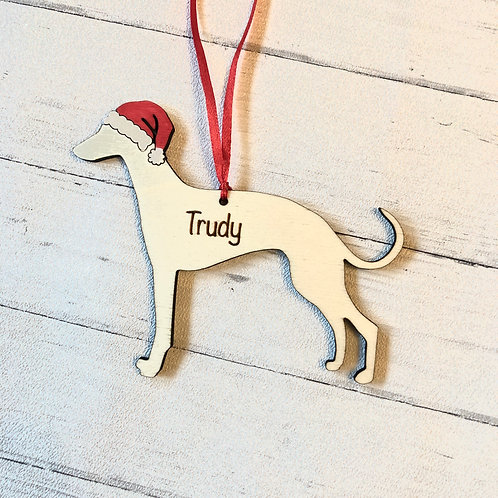 Whippet Pet Dog Wood Christmas Tree Decorations