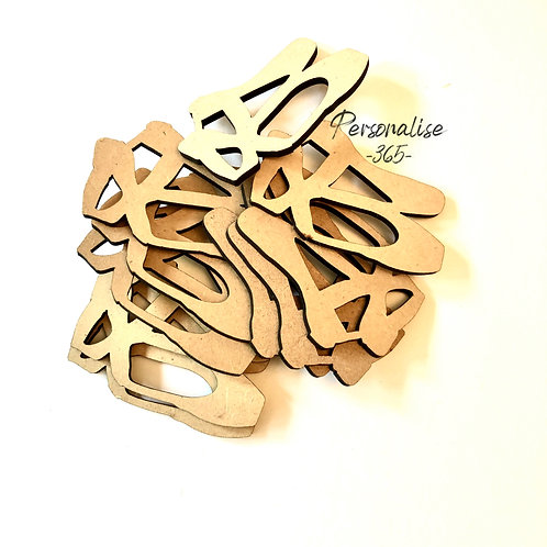 Ballet shoes craft shapes wooden  MDF x 10