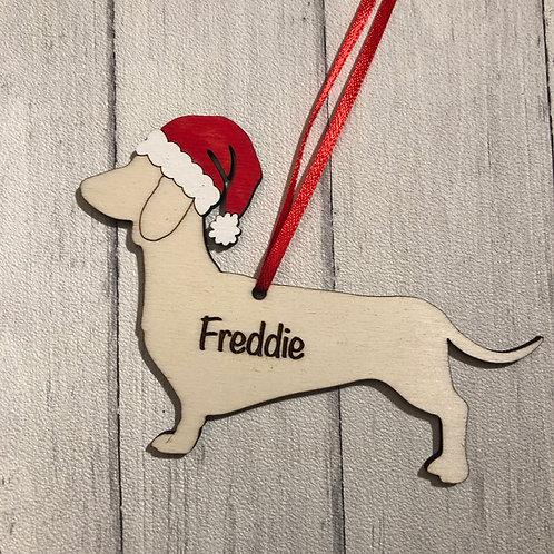 Dachshund Pet Dog Wood Christmas Tree Decoration