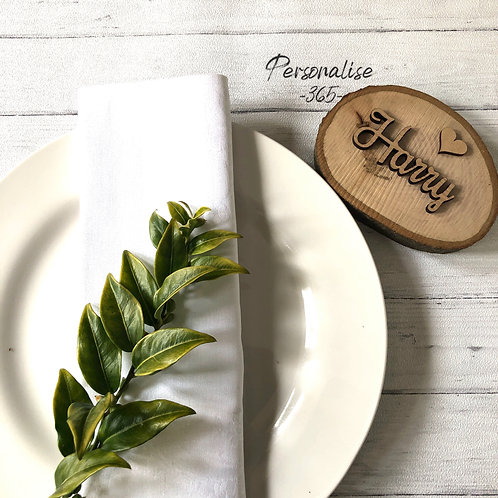 Rustic Wedding Log Slice Place Names with hearts