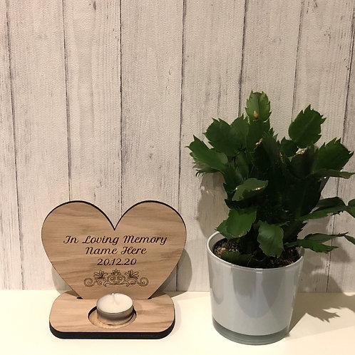 Oak Memorial Candle personalised & engraved