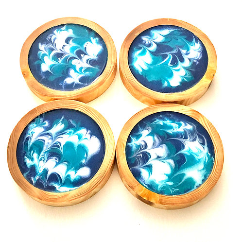 Set of Four Blue Resin Coated Rustic Natural Wood Coasters