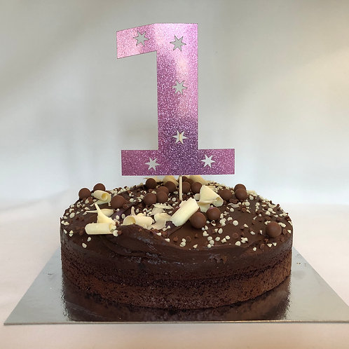 Metallic Pink Age Number with Cut Out Stars Cake Topper