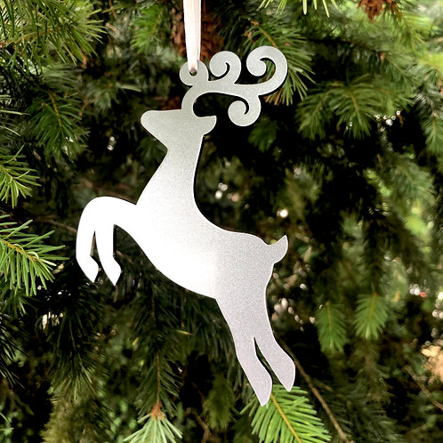 Reindeer Christmas Tree Bauble Decoration silver/gold/clear acrylic