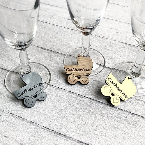 Baby Shower drink charms custom engraved/gold baby shower charm/silver baby show