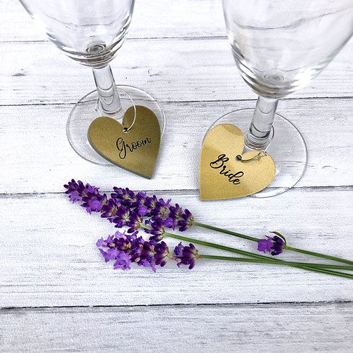 gold acrylic drink charms engraved