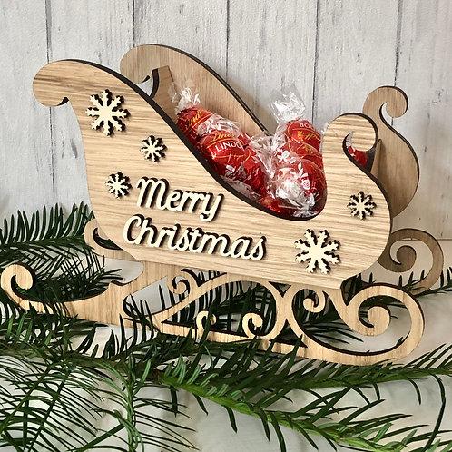 Santa Sleigh Oak Personalised