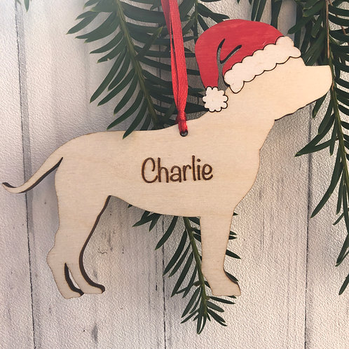 Staffordshire Bull Terrier Wood Christmas Tree Decorations