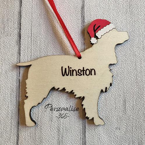 Springer Cocker Spaniel Wood Christmas Tree Decorations