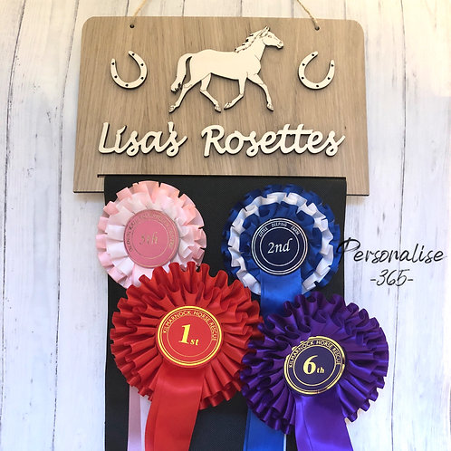 Rosette Holder Personalised in Oak with wood craft shapes