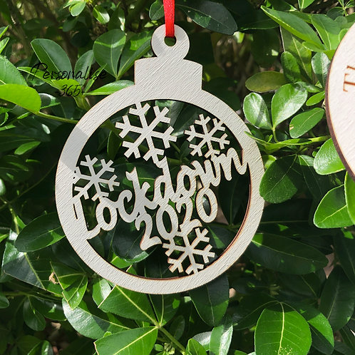 Lockdown 2020 Hand Painted Christmas Bauble Tree Decoration