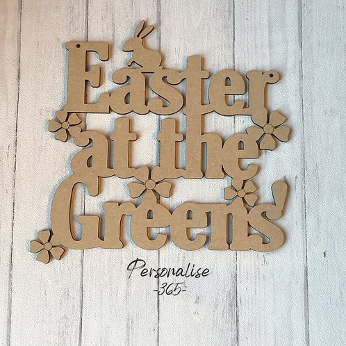 Easter at the family name personalised/Easter sign/Easter Plaque personalised/4m