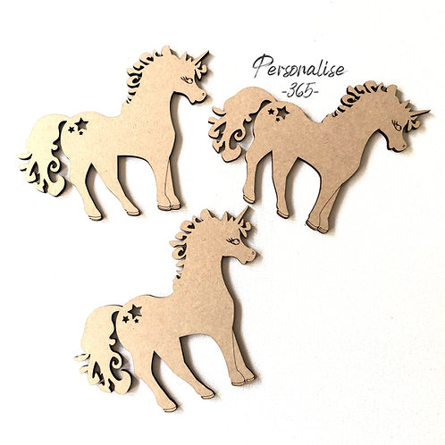 Unicorn craft shapes x 2 with cut out detail wooden MDF
