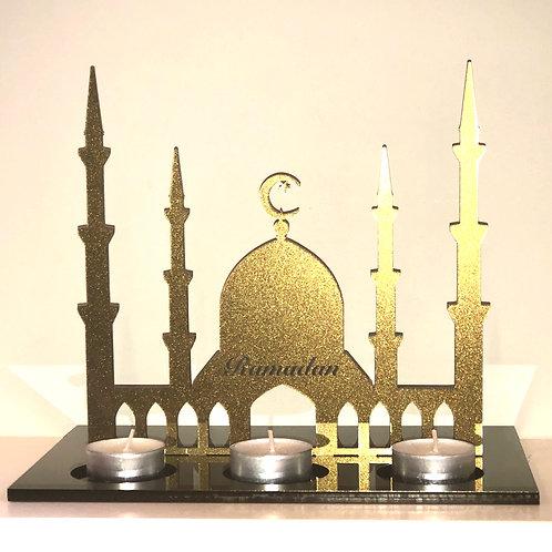 Gold Glitter Acrylic Ramadan Freestanding Candle Gift personalised